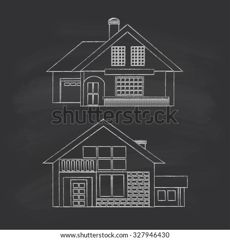 Silhouette drawing summer houses. Chalk on a blackboard. Raster version. - stock photo