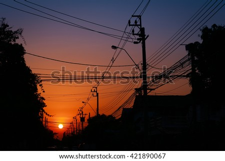 Silhouette , electricity post
