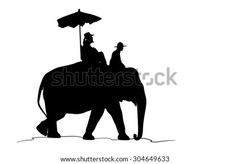 silhouette elephant and tourist on white background with clipping path
