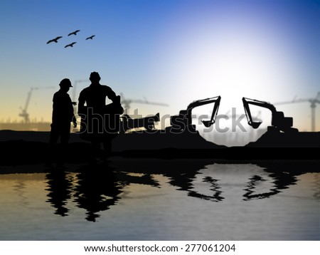 silhouette engineer looking at blueprints over Blurred construction worker on construction site riverside locations - stock photo
