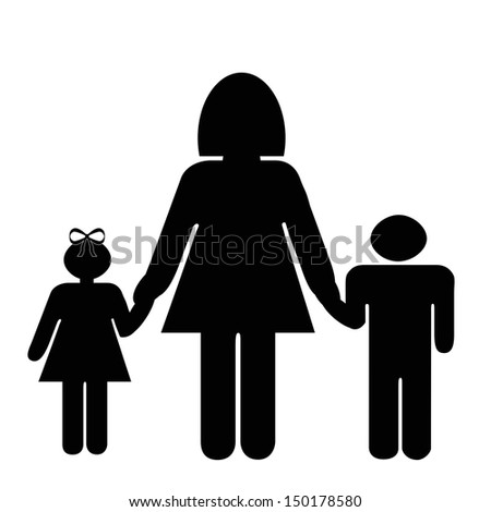 Silhouette family. Icon person, woman, , kids