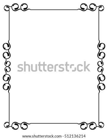 Silhouette frame. Abstract black and white ornament with decorative flowers. Copy space. Raster clip art.