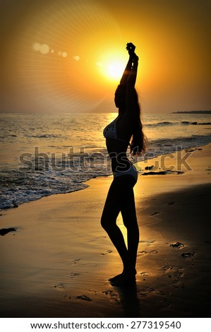 Silhouette girl on the seashore at sunset - stock photo