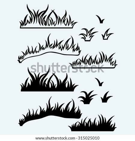 Silhouette grass. Isolated on blue background. Raster version - stock photo