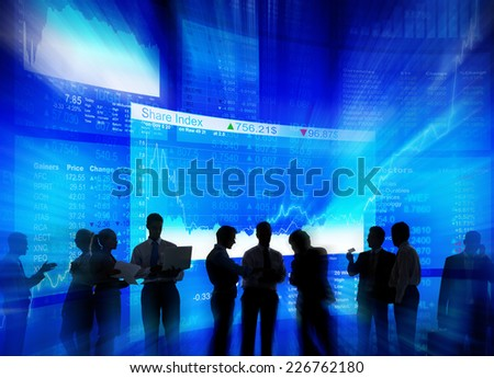 Silhouette Group of Business People Stock Market Concept - stock photo
