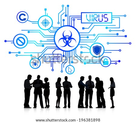 Silhouette Group of Business People with Virus Concept - stock photo