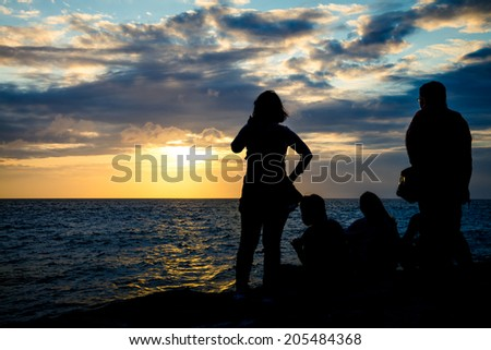 Silhouette group of people watching sunset at the coast - stock photo
