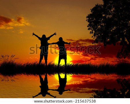 Silhouette happy excited carefree couple looking at sunset, body reflection in lake water. Outdoor exciting summer vacation, travel life, leisure, fun lifestyle freedom concept. Positive human emotion