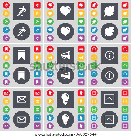Silhouette, Heart, Leaf, Marker, Megaphone, Information, Message, Light bulb, Arrow up icon symbol. A large set of flat, colored buttons for your design. illustration - stock photo
