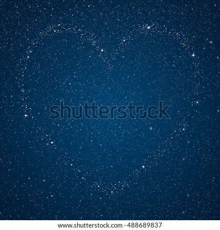 Silhouette Heart Stars. Night sky. Star. Love and Heart. Valentine Day. Wedding.