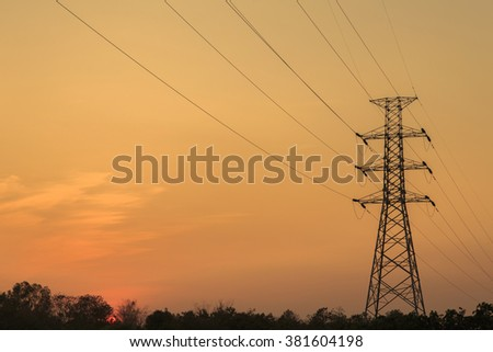 silhouette high voltage post.High-voltage tower sky sunset  background.