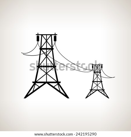 Silhouette high voltage power lines on a light background,  black and white   illustration - stock photo