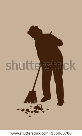Silhouette Housewives clean up the fragments broken vase - stock photo