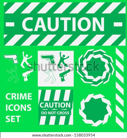 Silhouette icons set Caution, danger, and police crime concept design elements - stock photo