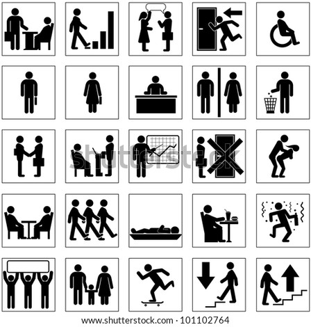 Silhouette Icons with Business People Situation - stock photo