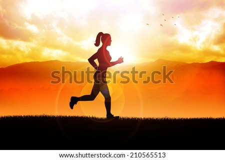 Silhouette illustration of a female figure were jogging in the beautiful landscape