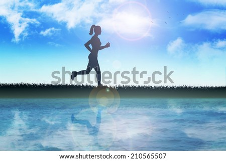 Silhouette illustration of a female figure were jogging in the outdoor