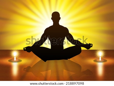 Silhouette illustration of a male figure meditating - stock photo