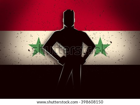 Silhouette illustration of a man standing in front of Syria flag