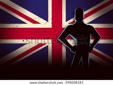 Silhouette illustration of a man standing in front of United Kingdom flag