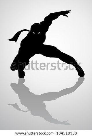 Silhouette illustration of a masked superhero - stock photo