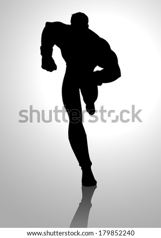 Silhouette illustration of a muscular male figure running - stock photo