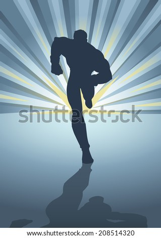 Silhouette illustration of a muscular male figure running in front of light burst - stock photo