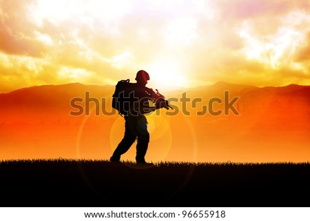 Silhouette illustration of a soldier on the field - stock photo