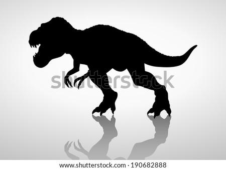 Silhouette illustration of a tyrannosaurus rex - stock photo
