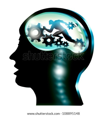 Silhouette illustration of head of man with gears isolated in white background.  General Medical, Science and Career Concept. - stock photo