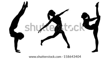 Silhouette illustrations of a female gymnast with a ponytail in various poses on a white background - 2