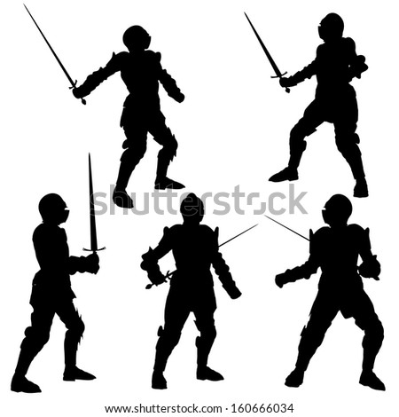 Silhouette illustrations of a Medieval knight in armour with a sword on a white background - stock photo