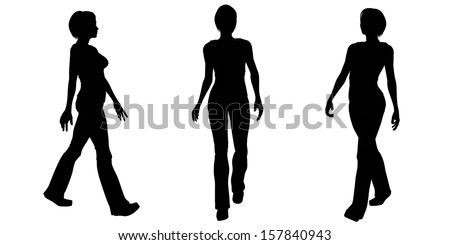 Silhouette illustrations of a woman walking on a white background