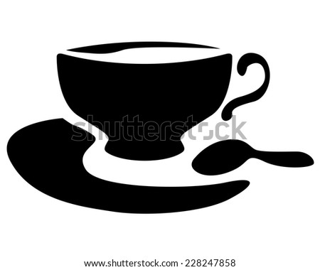 Silhouette image of teacup with tea and teaspoon - stock photo