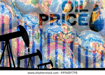 silhouette industrial oil pump jack and falling oil graph on the blue globe background with the word oil price, oil price falling crisis concept - stock photo