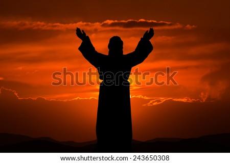 Silhouette Jesus - stock photo