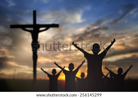 Silhouette Jesus Christ On Cross Background Stock Photo - Christian religion