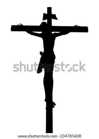 Silhouette Jesus Christ On The Cross. - stock photo