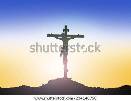 Silhouette Jesus Christ on the cross over blurred sunset background. Worship, Forgiveness, Mercy, Humble, Repentance, Reconcile, Adoration, Glorify, Redeemer, Christmas, Love concept. - stock photo