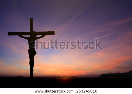 Silhouette Jesus on cross with the sunset. clouds sky concept victory lord life pain light god cross xmas  mercy death praise bible risen space reborn easter worship agape Blessing gospel prayer