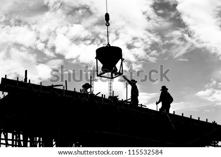 silhouette labor working construct - stock photo