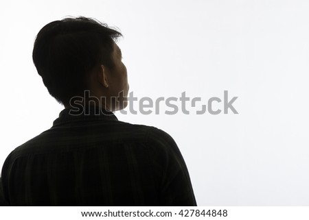 Silhouette man portrait, concept of unknown, anonymous, unnamed etc - stock photo