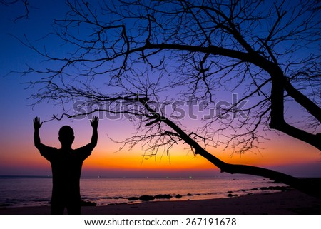 Silhouette man show his hand up in the air with dead tree at sunset beach