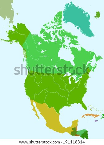 Silhouette map of the North America countries with major rivers and lakes  - stock photo