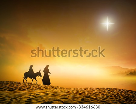 Silhouette Mary Joseph journey through the desert with a donkey on golden sunset looking for a place to stay on Christmas Eve. Nativity scene story, Merry Christmas Card background, Baby Jesus concept - stock photo