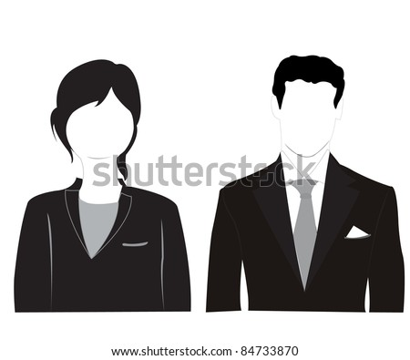 Silhouette men and women on white background - stock photo