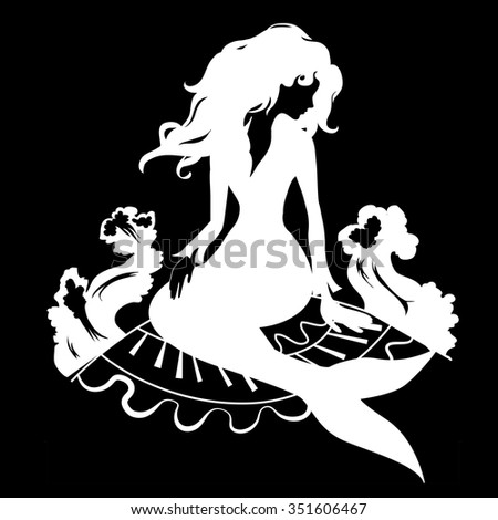 Silhouette mermaid sitting on the stone. Isolated figure of girl from fairytale
