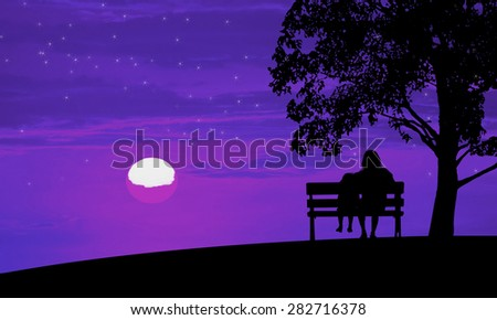 Silhouette mom and child on night background