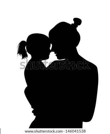 silhouette mother with a baby. Raster - stock photo