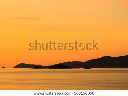 silhouette mountain and island and sea in lipe island